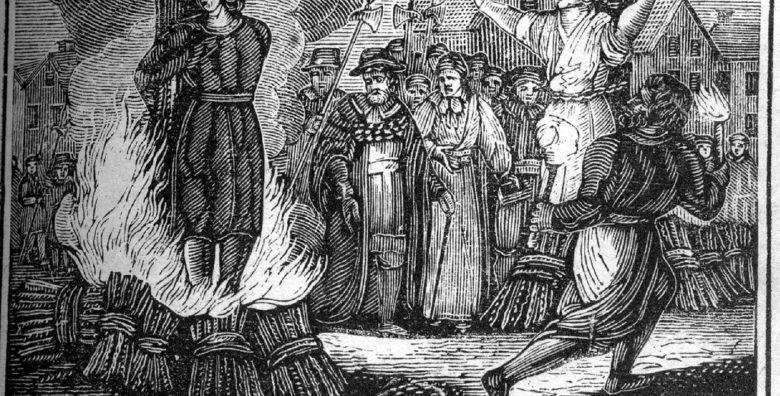 Hexenverfolgung: Verbrennung auf dem Scheiterhaufen (Illustration aus dem 19. Jahrhundert)